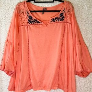 New Direction 3x top shirt Orange Embrodiered